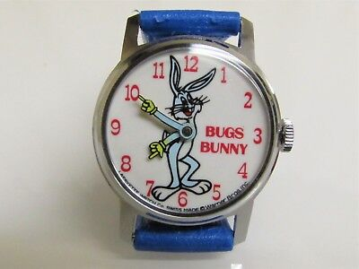 Vintage 1974 BUGS BUNNY CARTOON WATCH SWISS LAFAYETTE Base Metal RUNS & STOPS