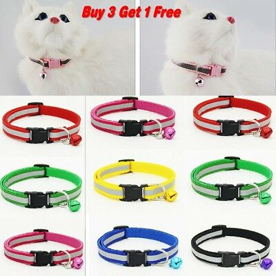 Adjustable Reflective Breakaway Nylon Safety Collar with Bell for Cat Kitten Dog