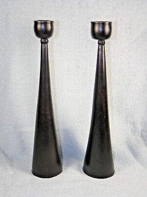 Circa 1960s Danish Modern Pair Wood Candlesticks