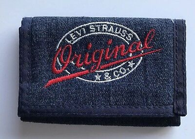 Vtg  Levi's Denim Blue Jean Tri-Fold Wallet Billfold Levi Strauss Embroidered