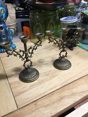 Vintage Set of 2 Small Candelabras Made in Italy Christmas Decor Holiday
