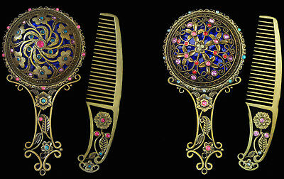 Dressing Table Mirror & Comb Set Vintage Rhinestone Precious Stones Bronze Gift