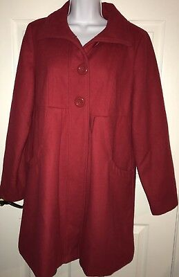 Beautiful Liz Lange Maternity Lipstick Red Wool Blend Fall Winter Coat SMALL