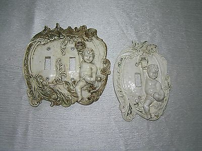 Shabby Vintage Lot of 2 Gilt Green Painted Cream Rubbery Plastic Victorian Style