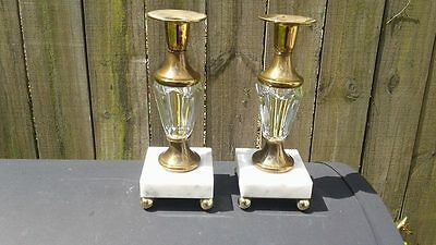 "Vintage  Pair Of White Marble Base Brass & Glass Taper Candle Holders 8"" Tall"
