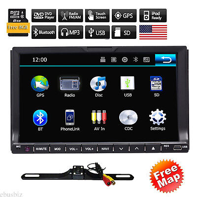 """7"""" inch Double 2DIN Car Radio Stereo DVD Player GPS Navigation Bluetooth+Camera"""