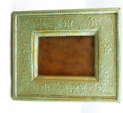 Stunning Antique Art Nouveau Floral Leaf Embossed Tin & Leather Picture Frame