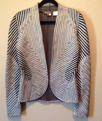 Womens's Obstinee By Ika Butoni Ribbon Mesh Metallic Jacket Size 6 Grey Silver