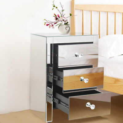 One Pair Mirrored Venetian Bedside Side Table Stand Mirror Glass End Furniture