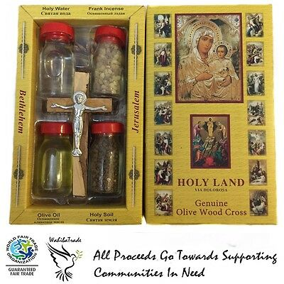 Holy Water from Jordan River, Jerusalem Soil Oil Incense Cross Crucifix HolyLand