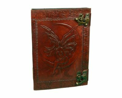 Embossed Leather Crescent Moon Fairy Handmade Cotton Journal with Model Lock