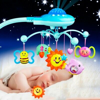 Baby Musical Crib Mobile Bed Bell Toys Plastic Hanging Rattles Stars Light Flash
