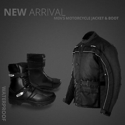 Winter Motorbike Waterproof Cordura Jacket Motorcycle Leather Boot Touring Shoes
