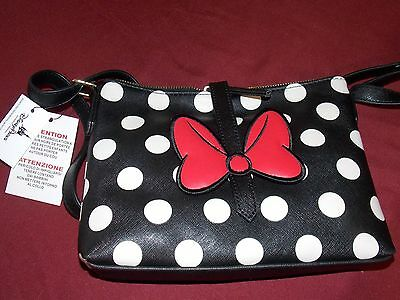 Disney Parks Minnie Mouse black White Stripes Red bow crossbody Purse Bag
