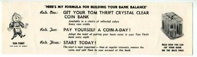 Tom Thrift Crystal Clear Coin Bank Advertising  Brochure.