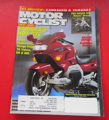 Motor Cyclist Magazine Dec/1992...First Look: Yamaha's Hot Gts...1993 Preview