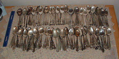 Vintage Lot 175 Silverplate Flatware Spoons Teaspoons Tea Silver Plate Mixed