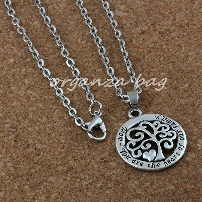 3pcs Mom You Are The Heart Of Our Family Tree Of Life Chain Fashion Necklace