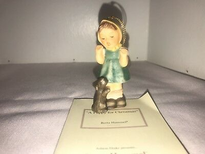 1999 Hummel Christmas Ornament A Puppy For Christmas Coa Vg Studio Berta Hummel
