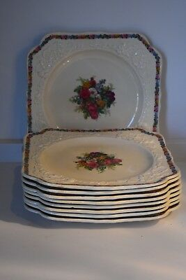"""Set of 9 Crown Ducal England Square Plates, Marked 8.75"""" Across"""