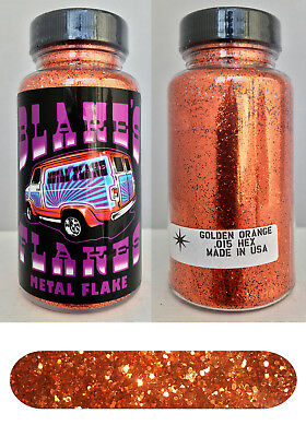 Blakes Metal Flake .015 Bright Golden Orange Hot Rod custom automotive 2oz jar