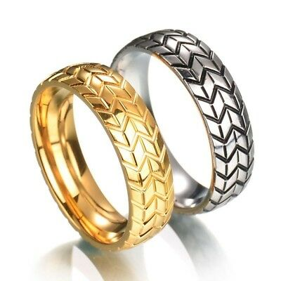 Simple Classic Stainless Steel Tire Pattern Couple Ring Men Valentine's Day Gift