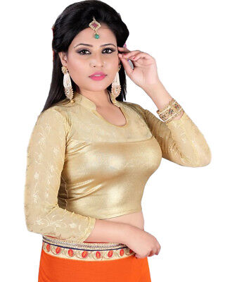 Ready Made Golden Lycra Free Size Saree Choli Designer Sari Top Blouse-MB501