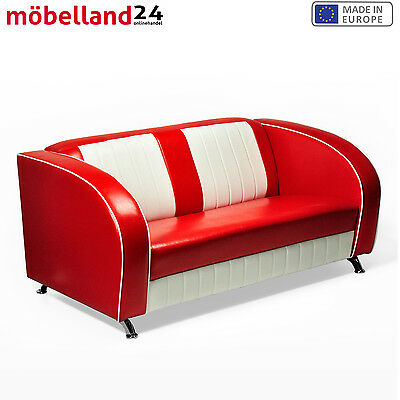 "AMERICAN SOFA ""Colorado"" COUCH 50er JAHRE USA STYLE DINERBANK SITZBANK 150cm rot"