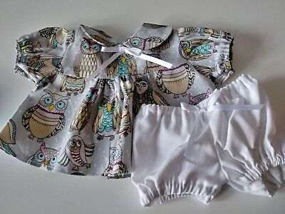 """Owl Print Dress and White Panties for 16""""  Cabbage Patch Doll"""