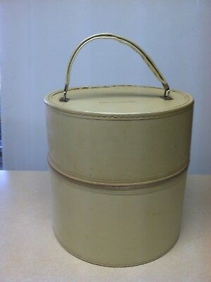 Vtg Wig Case Train Hat Box White Vinyl Round Mid Century Retro Luggage Foam Head