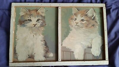 antique/vintage Primitive kitten paintings in primitive FOLK ART frame