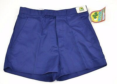 Vtg 1980's WEEDS Royal Blue Double Slide Snap SHORTS - Size 29 - NEW OLD STOCK