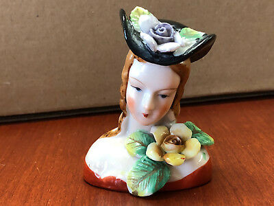 Vintage Small Porcelain Figurine Bust - Occupied Japan - Damaged but Beautiful