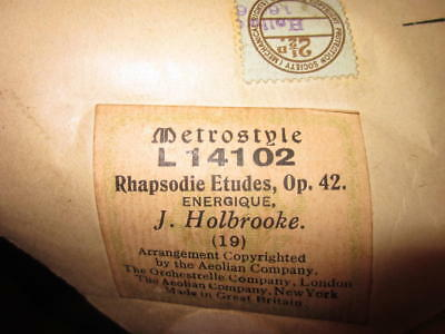 Vintage Pianola Roll - ETUDES Op 42 ----- signed  by COMPOSER. J.Holbrooke