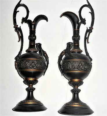 Antique  Pair of 1900s French Neo-Classical Bronze Water Ewers - Liquidation
