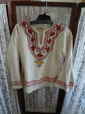 Vintage 60's 70's Boutique Bombay cotton peasant top embroidered Boho India M L
