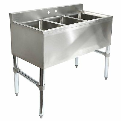 Gridmann 3 Compartment NSF Stainless Steel Commercial Underbar Sink