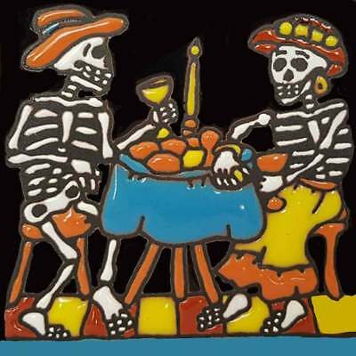 "One MEXICAN Hi Relief 4"" Day of the DEAD Romantic Dinner Tile 4x4-DD38"