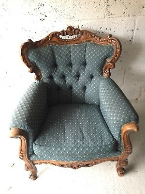 Antique French Louis Style Arm Chair (1 of a pair, matching sofa in other items)