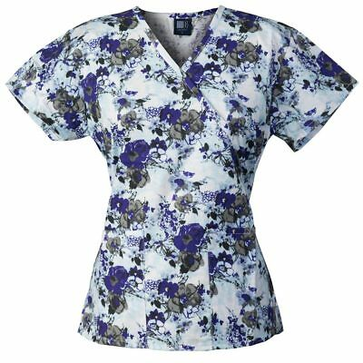 Medgear Womens Fashion Scrubs Top, Mock-Wrap with Back Ties, 2 Pockets 109P-MGWH
