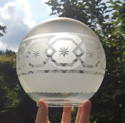 Antique Victorian Star Cut Glass & Acid Etched Oil Lamp Shade 4 inch Clear Frost