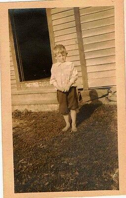 Old Antique Vintage Photograph Barefoot Bare Standing in Front of House