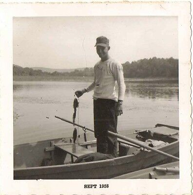 Old Vintage Antique Photograph Man Standing In Boat With Fish He Caught