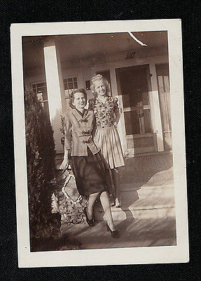 Antique Vintage Photograph Two Women in Front of House Wearing Cool Outfits