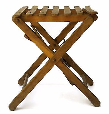Charming Vintage French Folding Fishing Stool ~ Wood Slats and Carrying Handle