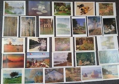 Lot Of 28 Postcards Of Paintings By Claude Monet
