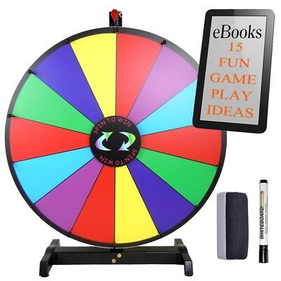 """24"""" Tabletop Spinning Prize Wheel Fortune Carnival Event Party Game Erase eBook"""