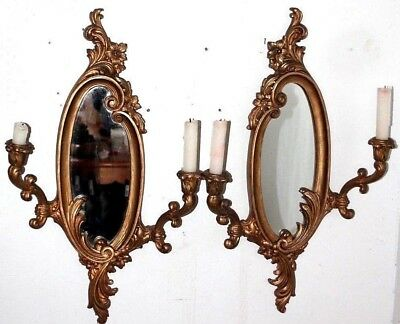 Antique / Vintage Pair Of Victorian Style Gilt Candlestick Mirrored Wall Sconces