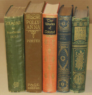 Lot of 5 Vintage Instant Bookshelf Library Decor  Distressed Tattered Rustic