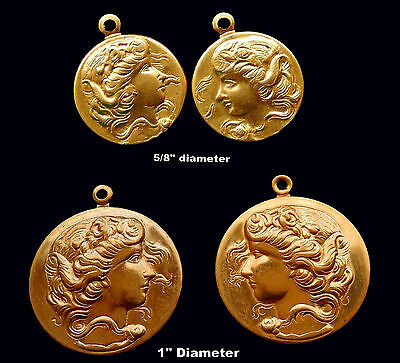 Vintage Brass Stampings Ornate Disk with Ladies Profile Mirror Images  2 sizes